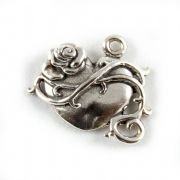 Heart And Rose Sterling Silver Charm